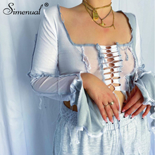 Simenual Ribbed Patchwork Mesh Slit Tie Front Top Long Sleeve Women Sexy Lace Up Hollow Out Crop Tops Sexy Club Autumn Slim Tees