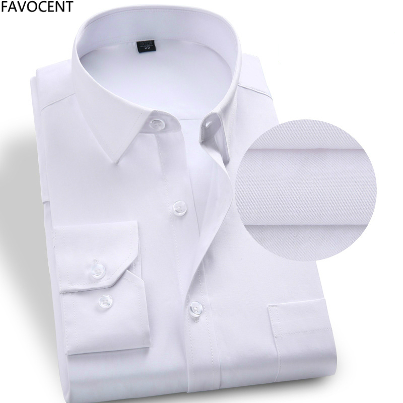 New Mens Dress Shirts Long Sleeve Business Casual Shirts Slim Fit Solid Formal Bridegroom Dress Shirt White Plus Size 37-48