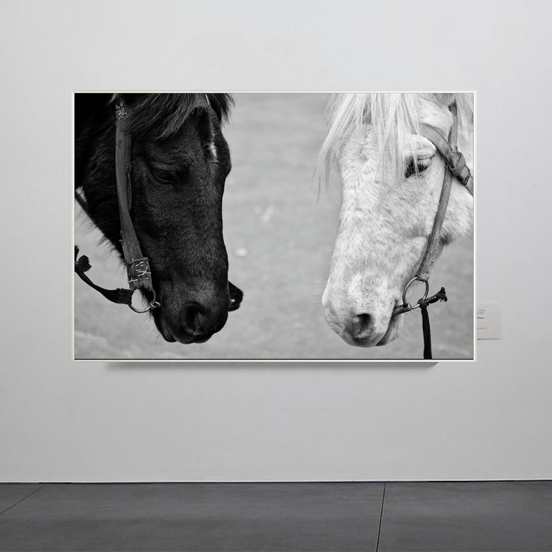 Modern Minimalist Black and White Animals Canvas Paintings Jumping Cool Horse Prints Posters Wall Pictures Living Room Decor (1)