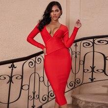Ocstrade女性赤包帯ドレス 2020 新赤ディープvセクシーなロングスリーブ包帯ドレスボディコンセレブイブニングクラブパーティードレス