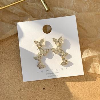 CZ Zircon 4 Butterfly Stud Earrings For Women 2020 Summer Style Charming Korean Eardrop Earrings Top.jpg 350x350 - CZ Zircon 4 Butterfly Stud Earrings For Women 2020 Summer Style Charming Korean Eardrop Earrings Top Quality