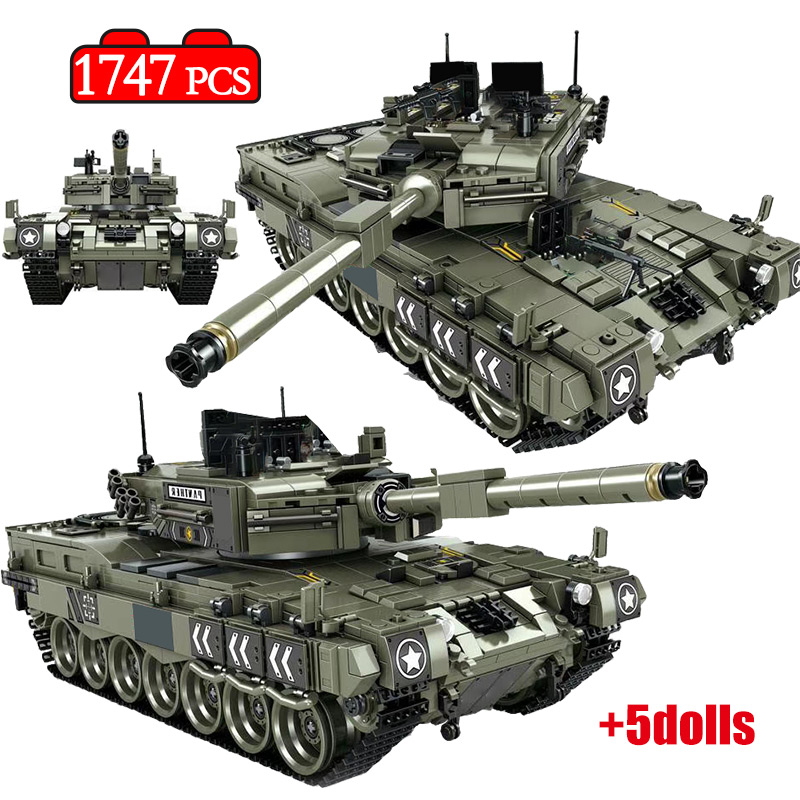 1747 Pcs Leopard 2 Main Battle Tank Model Building Blocks Military WW2 Army Soldier Bicks Toys For Kid Boys