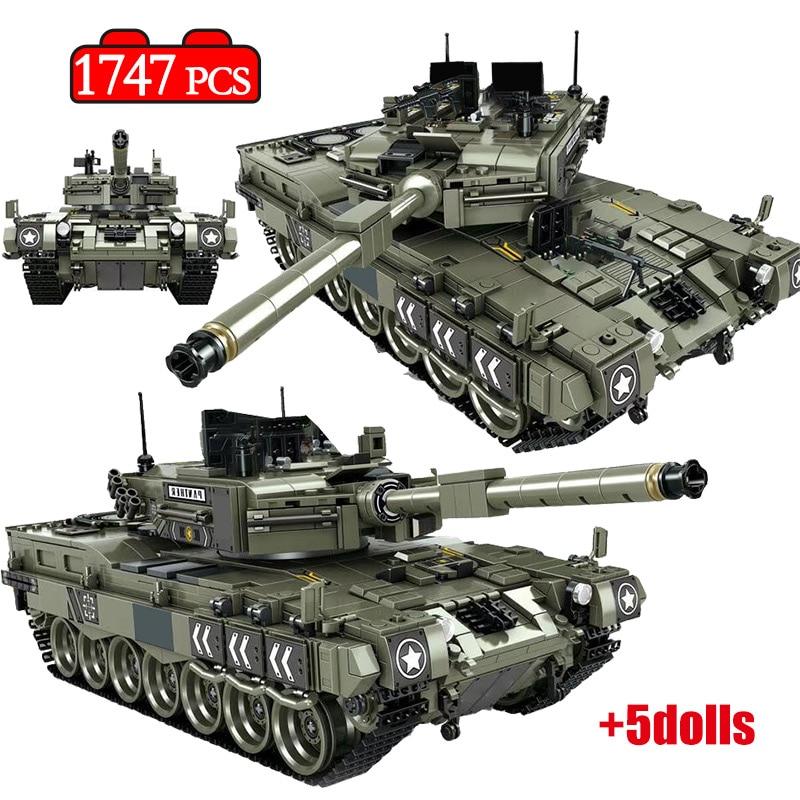 1747 Pcs Leopard 2 Main Battle Tank Model Building Blocks Military WW2 Army Soldier Bicks Toys For Kid Boys