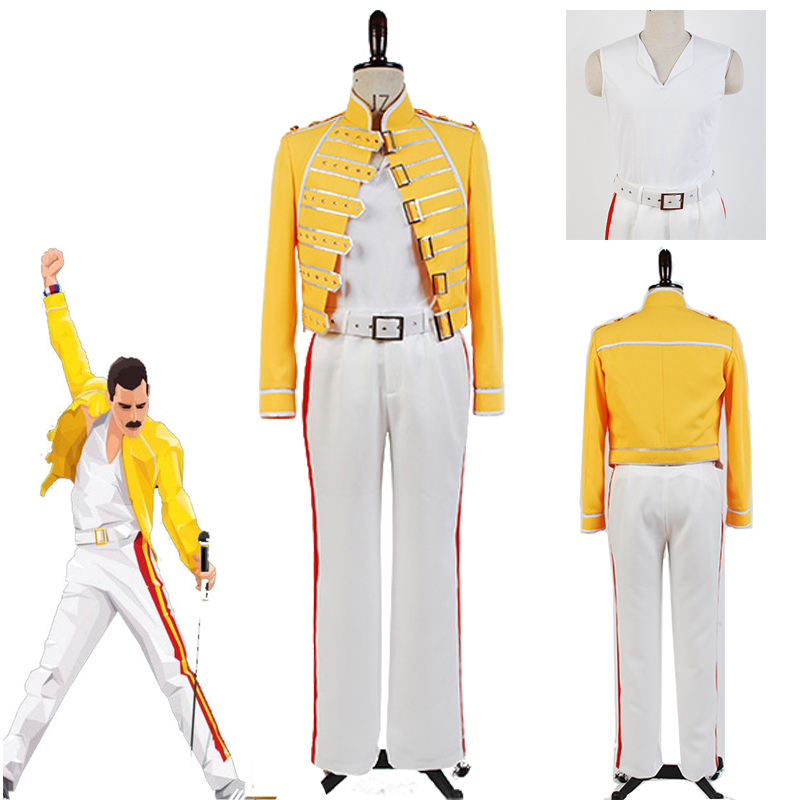 Queen Lead Vocals Freddie Mercury Cosplay Costume Adult Men Women Yellow Uniform Costume Full Set Halloween Carnival Custom Made