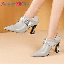 ANNYMOLI High Heels Women Pumps Natural Genuine Leather Strange Style High