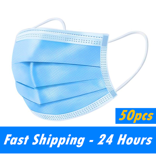 10/20/50/100 PCS Fast Shipping 3-Layer Disposable Face Mask Anti-Pollution Safety Dust Filter Mask Non-woven Meltblown Masks