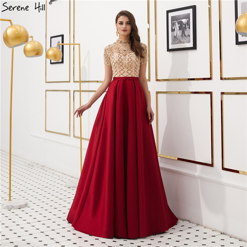 Wine Red Crystal Satin Prom Dresses 2019 Short Sleeves A-Line Formal Party Gown Serene Hill LA6568