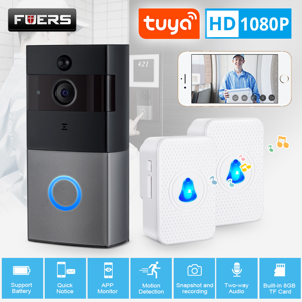 Tuya Smart Life Wireless WiFi HD 1080P Video Doorbell Home Security PIR Motion Detection Remote Intercom 6 LED IP08 Door Bell