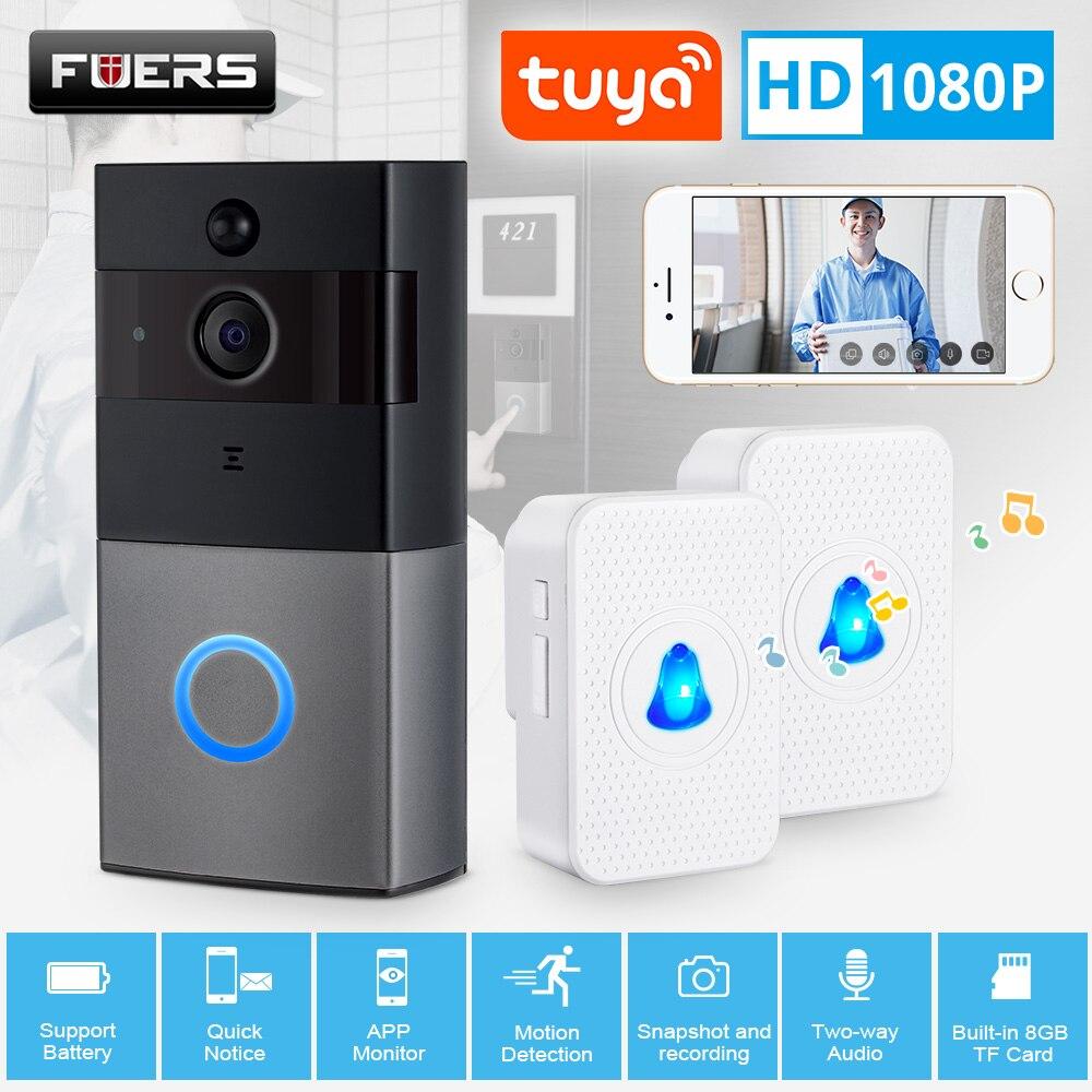 Tuya Smart Life Wireless WiFi HD 1080P Video Doorbell Home Security PIR Motion Detection Remote Intercom 6 LED IP08 Door Bell