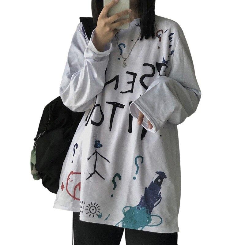 Long Sleeve Women Sweatshirts Simple Autumn Warm Cute Print Casual Loose Round Collar Shirt Manteau Femme Hiver