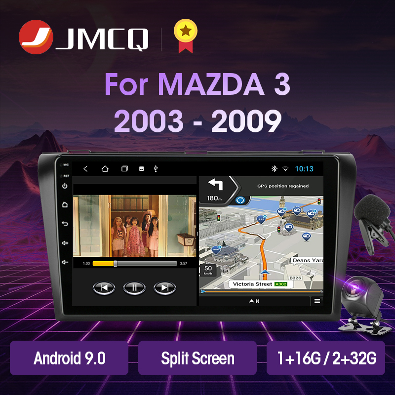 JMCQ Android 9.0 2+32G DSP Car Radio Multimidia Video Player Navigation GPS Stereo For Mazda 3 2003-2009 <font><b>Mazda3</b></font> 2din Head Unit image