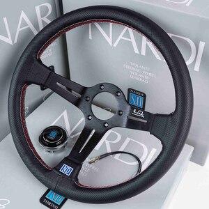 Image 3 - Volanti universali da 14 pollici in pelle ND Auto Racing e pomello del cambio volante sportivo alla deriva con mais profondo con Logo