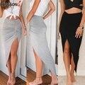 Новинка 2020, сексуальные асимметричные юбки, женская летняя длинная юбка с разрезом, вечерние легающая вечерняя юбка, серая, Черная