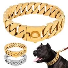 Gold Guban Chain Pet Collar Bully Large Dog Collar Leash Customized Stainless Steel 32mm Pitpull Bulldog Strong Metal Collar