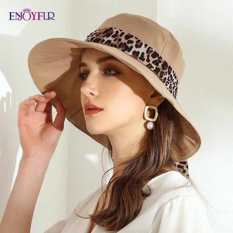 ENJOYFUR Womens cotton sun bucket hats Leopard Ribbon Bow Beach hat fashion UV UPF Casual summer sun hat with chinstrap