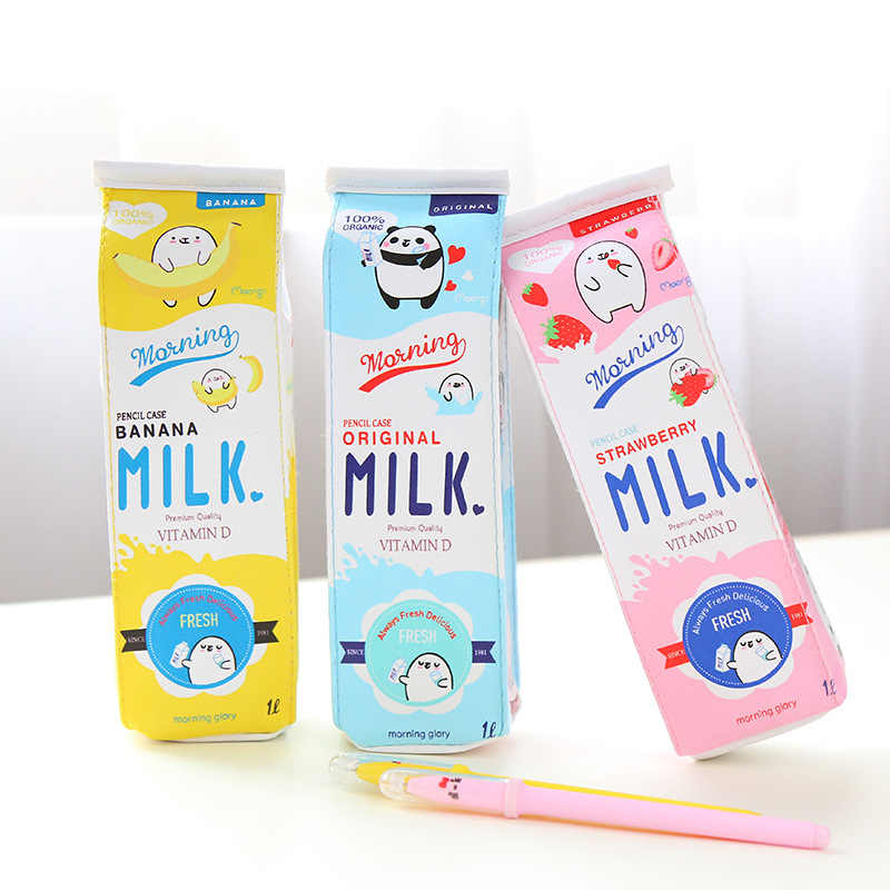 1pcs Creative PU Leather Pencil box case Simulation Milk Box cute pencil bag case Kawaii Stationery School Supplies kids gift