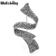 Wuli y diamantes de imitación Vintage broches con diseño de lazo mujeres Metal bodas banquetes broche regalos