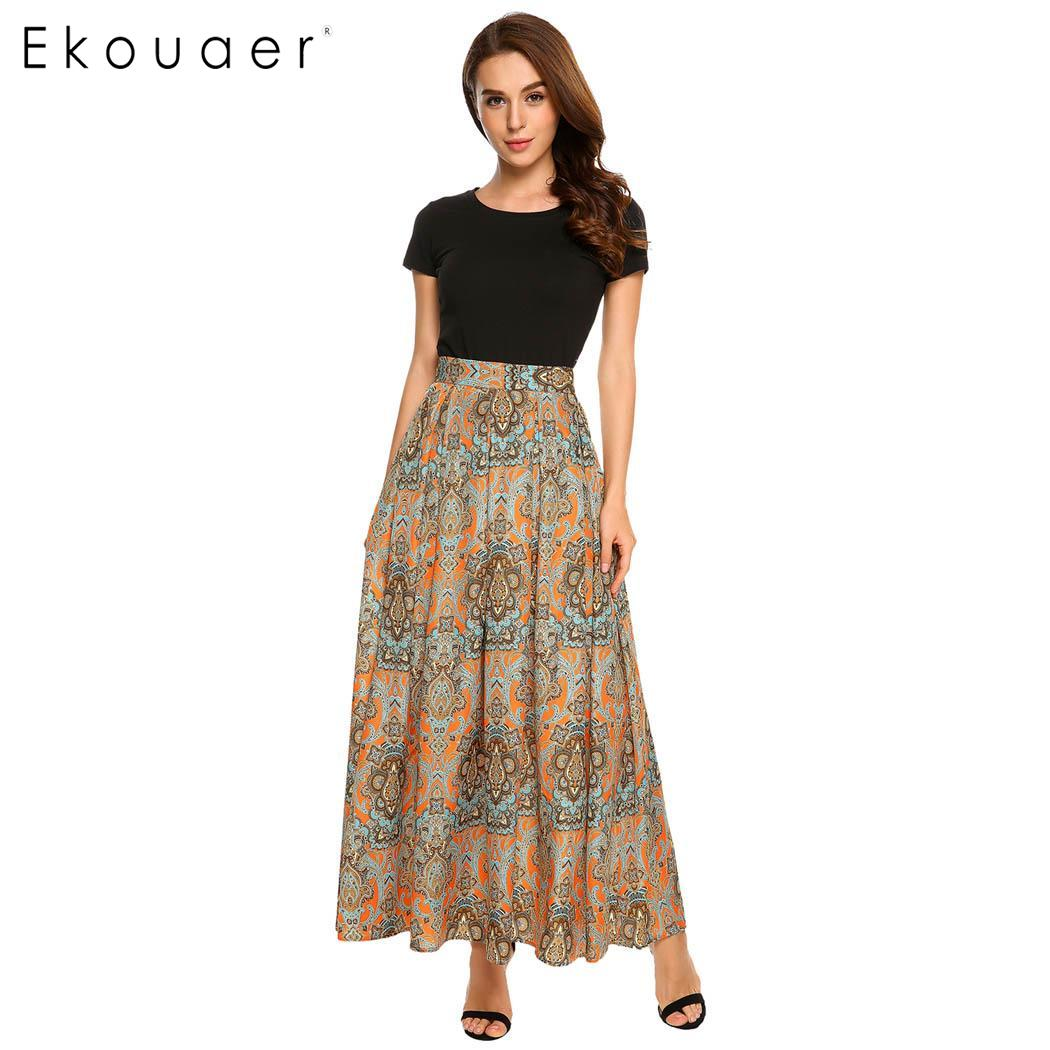 Ekouaer Women High Waist Print Maxi Pleated Long Skirt Beach Party Bohemia Style Elegant Skirts S-XXL Sizes