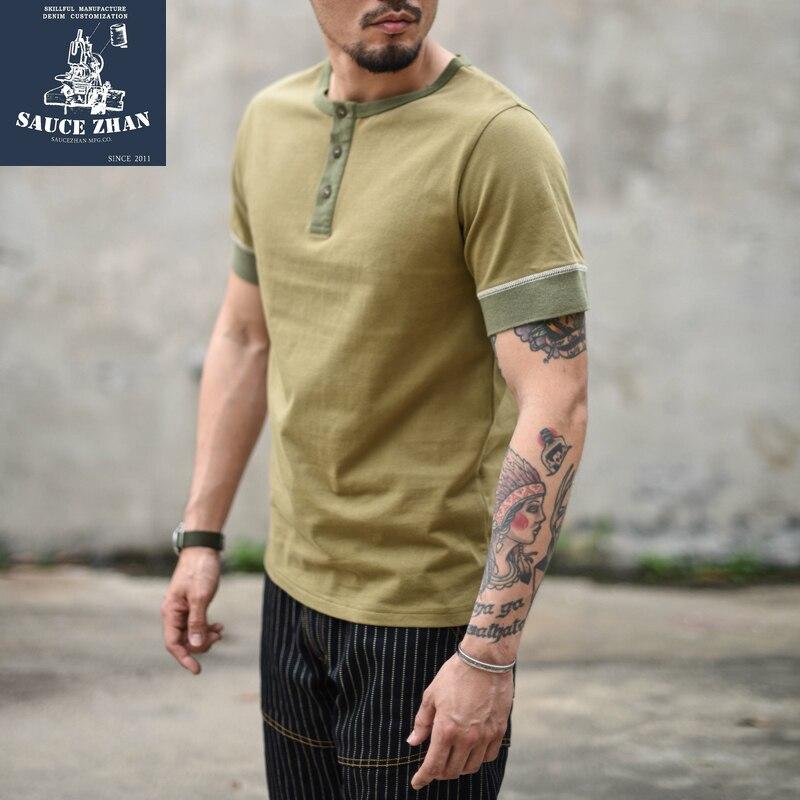 SauceZhan 2-color Heavy Cotton T-shirt Male Hengliling Short-sleeved  Male T-shirt Collar Fanny Ringer Tee  Men T Shirt  Casual