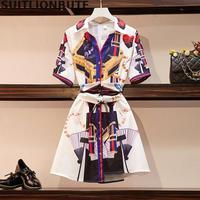L 4xl Plus Size French Niche Print Shirt Dress Polo Collar Short Sleeve Single breasted Belt Thin Waist Slim Summer Dress 2019