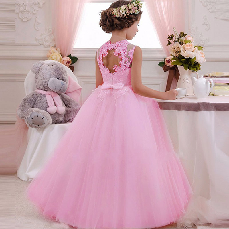 Longo vestido de verão casual adolescentes meninas traje rendas crianças roupas princesa festa flor crianças roupas casamento vestidos verano