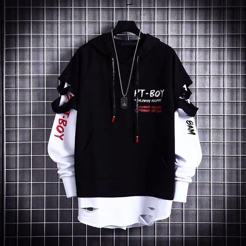 Толстовка мужская в стиле хип-хоп, уличный пуловер, Модный повседневный свитшот, черный цвет, топ для мальчиков и девочек, лидер продаж, весн...
