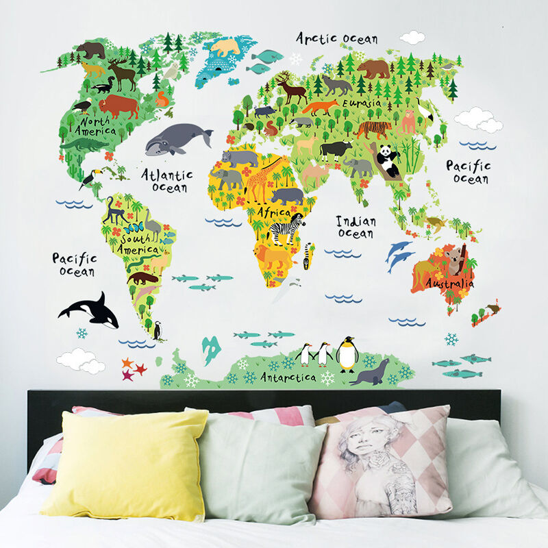 Animal World Map Wall Sticker Colorful World Poster Kids DIY Room Wall Map Home Decoration Kids Art Early Education 95cm*73cm