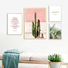 Pink Cactus Green Plant Flower Creative English Quote Canvas Painting Art Abstract Print Poster Picture Wall Nordic Home Decor(China)
