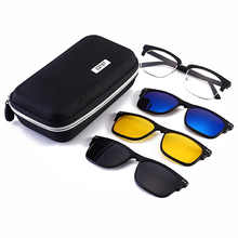 Polarized Sunglasses Set with 3pcs Magnetic Clips TR Frame Clip On Glasses Magnet Casual Optical Myopia Eyewear