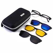Óculos de sol polarizados conjunto com 3 pçs clipes magnéticos tr frame clip em óculos ímã casual óptica miopia eyewear