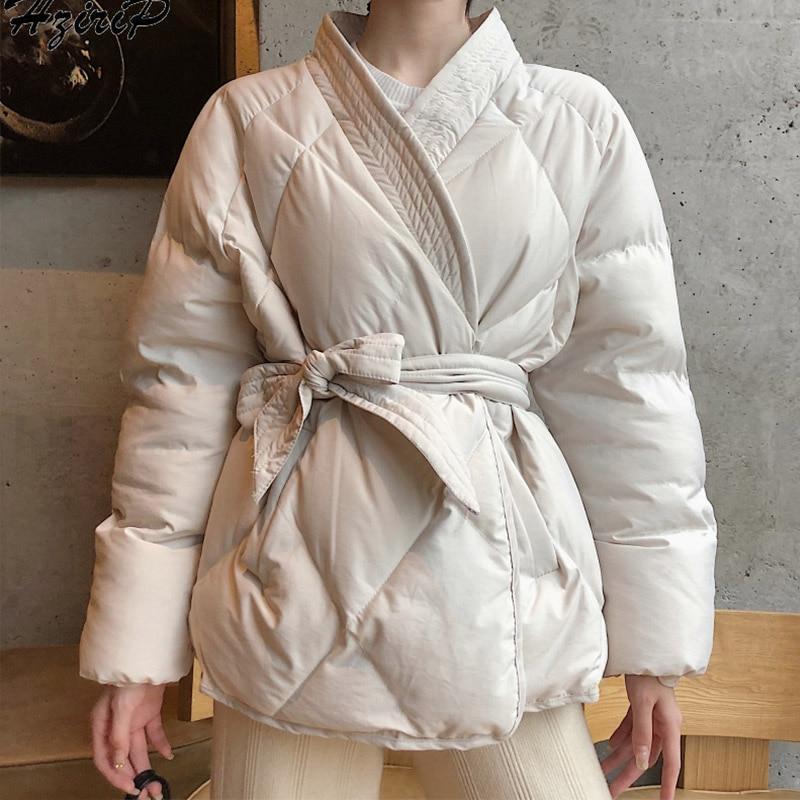 Women Winter   Parkas   Jackets Japanese Kimono Belt Female Cotton Padded Coat Jacket 2019 Autumn Thicken Warm Women's   Parka