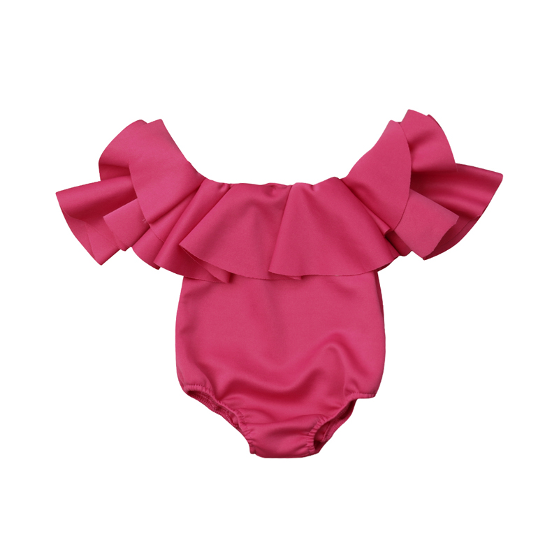 Pudcoco US Stock Newborn Baby Girl Romper Solid Ruffle Off Shoulders Short Sleeves Jumpsuit Outfit Clothes 0-12M