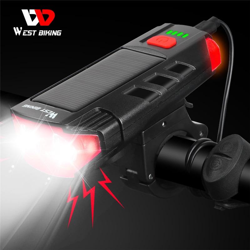 Светодиодный водонепроницаемый велофонарь с зарядкой через USB, 120 дБ Предупреждение WEST BIKING, 2000 мАч 1