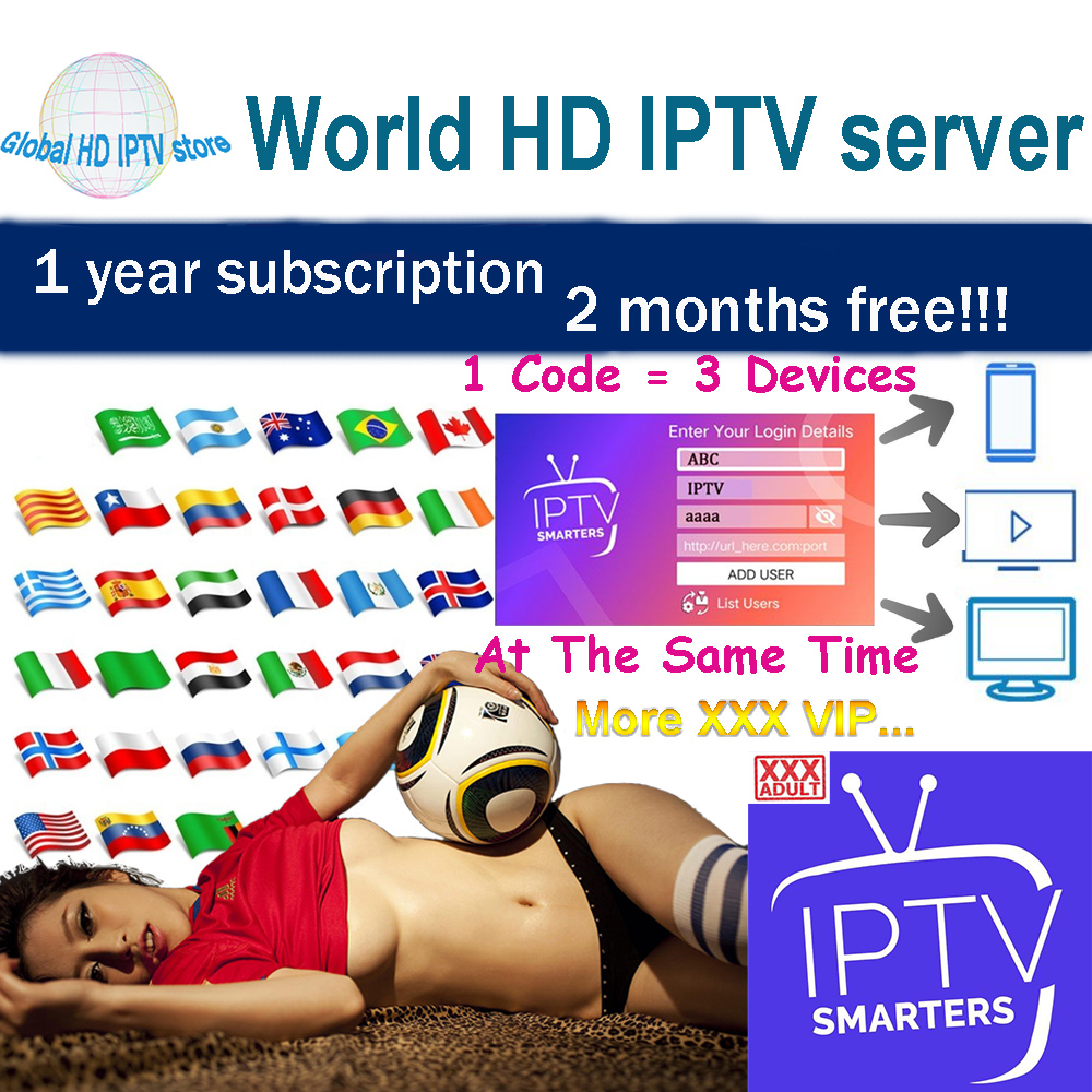 World HD IPTV Subscribe Adult IPTV Europe Spain Tv Box MAG X96  M3U Android IPTV Smarter Support 3 Devices