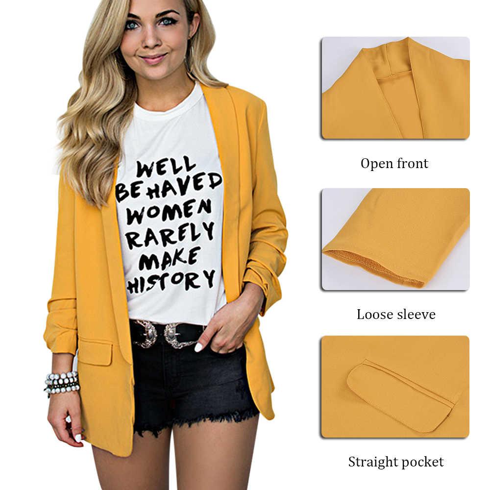 秋シフォンブレザーゆるいカジュアルな固体コート女性 5XL スーツジャケットファッション長袖プラスサイズのオフィスの女性ジャケット作業服