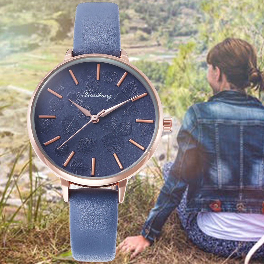 Leaf Embossed Fashion Belt Watch Quartz Minimalism Clock Metal Creative Dress Watches For Ladies Women Gift Relogio Feminino