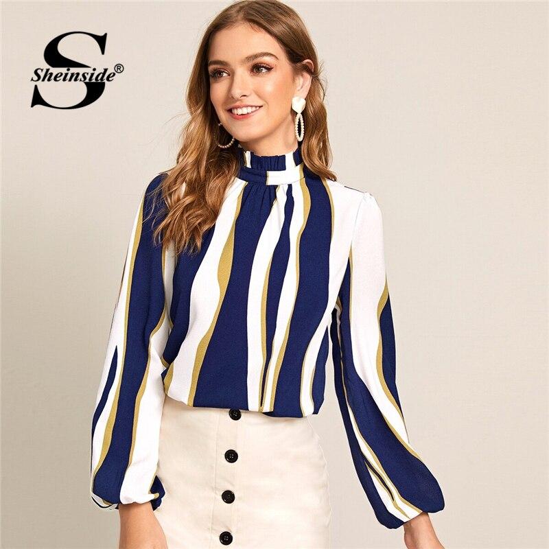 Sheinside Elegant Stripe Print Blouse Women 2019 Autumn Lantern Sleeve Blouses Ladies Stand Collar Keyhole Back Colorblock Top