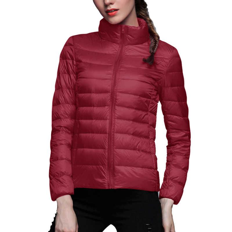 新秋冬の女性のダウンパーカージャケット暖かいダウン超軽量ソフトパーカージャケットコート防風ポータブル屋外ウインドブレーカー