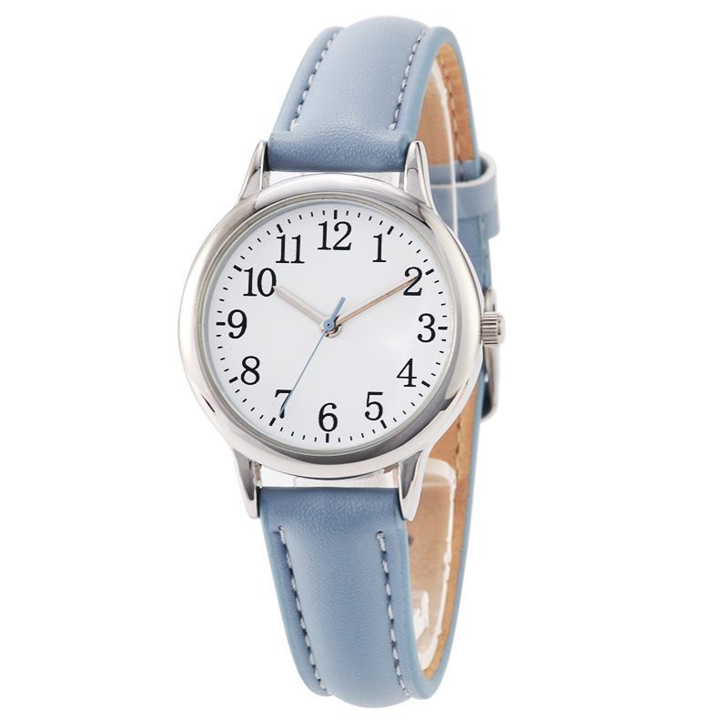 Arabic Numbers Lady ELegant Style Women Watch Candy Color Straps Leather Band Easy Reading Simple Dial