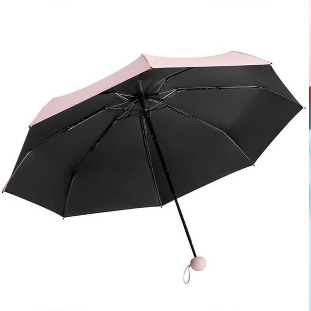 Five-holding sun umbrella sun protection UV folding umbrella female sunshade rain dual-use capsule compact portable pocket 3