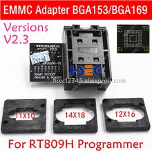 RT BGA169 01 V2.3 EMMC Siège EMCP153 EMCP169 Prise BGA169 BGA153 EMMC adaptateur 11.5*13mm ajouter 3 pièces Matrice POUR RT809H programmeur