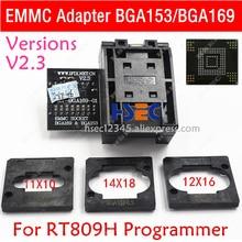 RT BGA169 01 V2.3 EMMC koltuk EMCP153 EMCP169 soket BGA169 BGA153 EMMC adaptörü 11.5*13mm ekleyin 3 adet matris için RT809H programcı