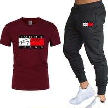 2021 De Moda De Verano De Los Hombres De Marca Casuais Traje De Ropa Deportiva De Los Hombres de Camiseta + Pantalones Deportes 2