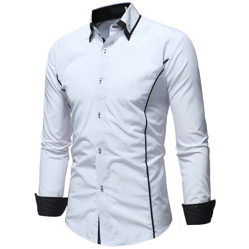 2019 Autumn And Winter New Style Contrast Color Double Collar Men's Casual Slim Fit Long-sleeved Shirt