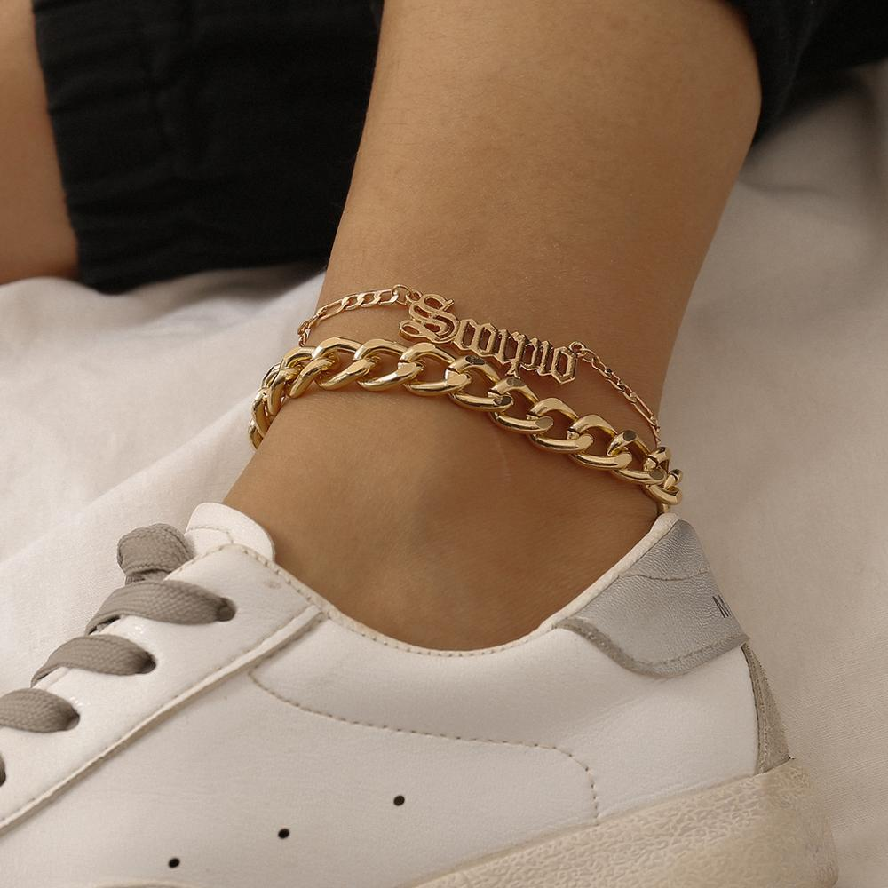 Geometric chain set foot ornaments simple beach style letters hollow out anklet