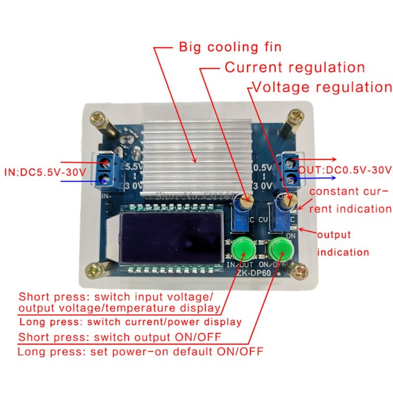 ZK-DP60 Schritt Unten Up Netzteil Modul 35W 60W High-Power Einstellbar Buck Boost Netzteil Modul konverter LCD Display