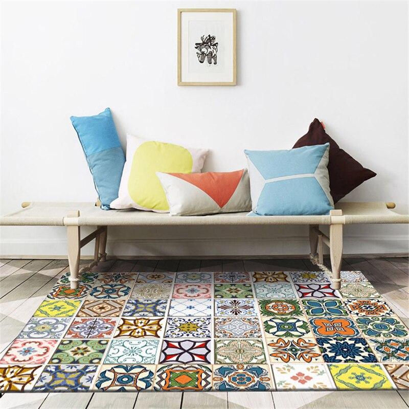 Ev ve Bahçe'ten Halı'de AOVOLL halılar oturma odası avrupa geometrik etnik tarzı renk mozaik halı yatak odası halı halı çocuk oda zemin matı title=