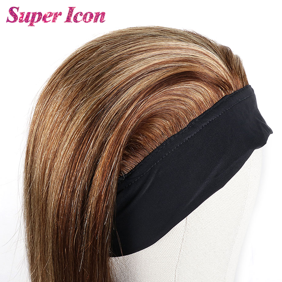 Headband Wig 27 Brown Colored Human Hair Wigs For Black Women Natural Highlight Ombre Glueless Straight WigSmooth Super Icon