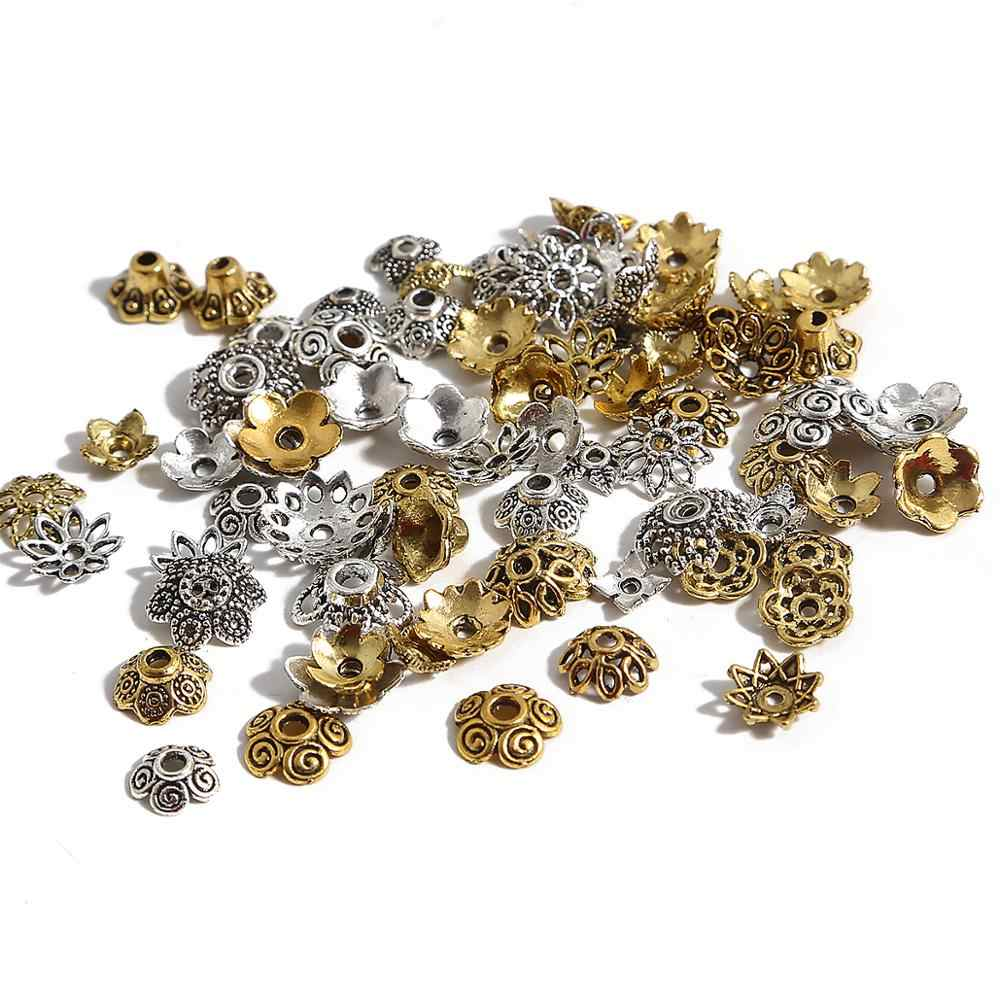 60//120pcs Tibetan Silver Flower Spacer Beads Jewelry Findings 2.5x6.5mm