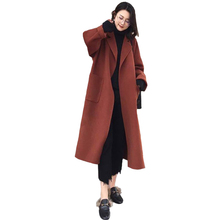 New Winter Ladies Coat Loose V-neck Double-Sided Thick Woolen Female Long Section Casual Long-Sleeved Top